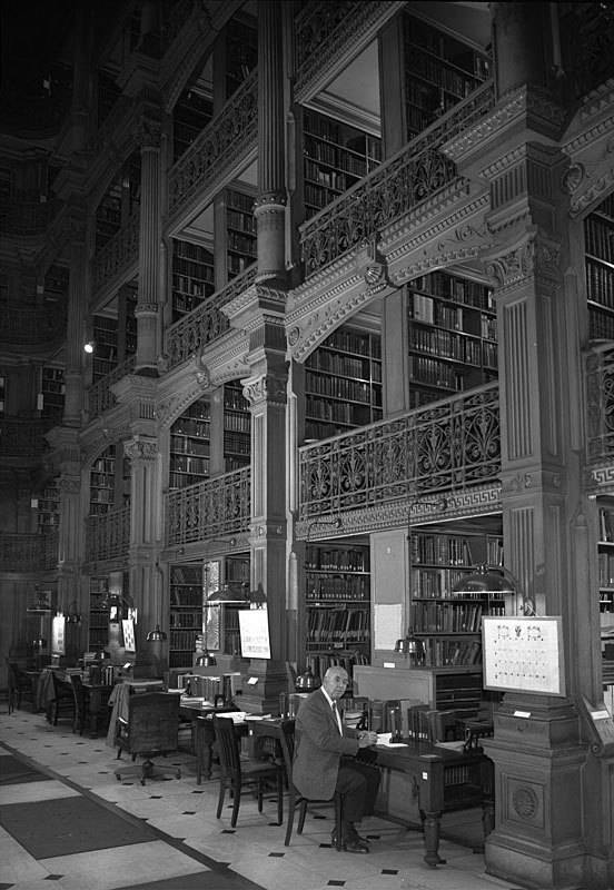 Interior of library, Peabody Institute (1960)