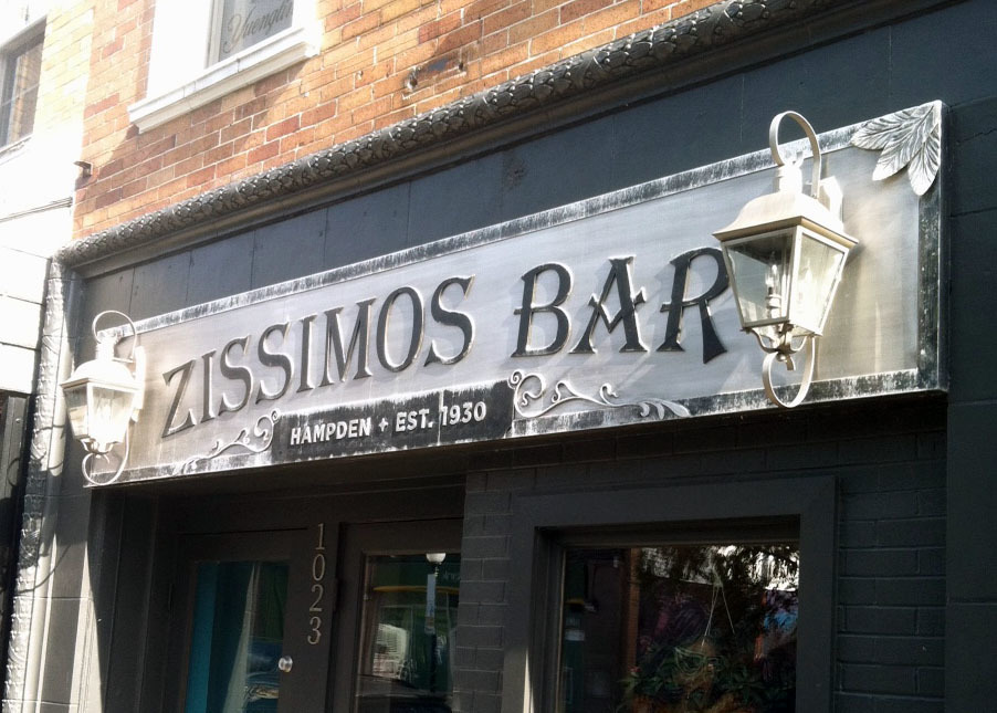 Sign, Zissimos Bar