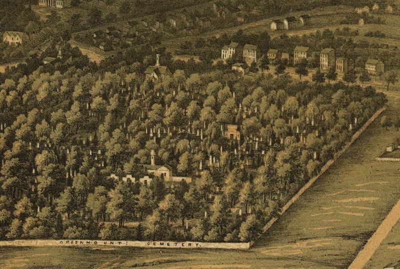 E. Sachse & Co.'s bird's eye view of the Green Mount Cemetery (1869)
