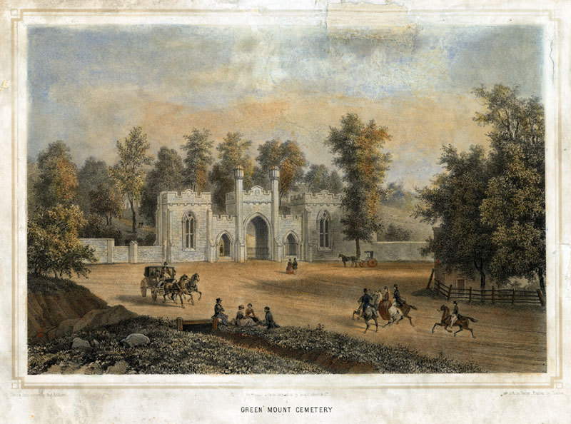 Green Mount Cemetery, Cator Print #182 (1848)