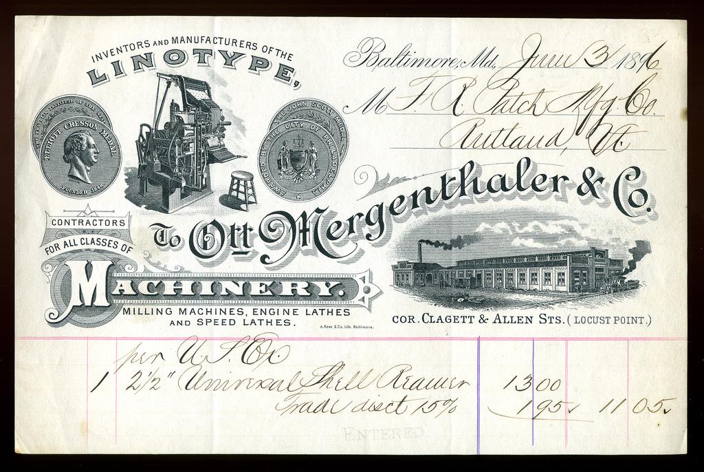 Billhead, Ottmar Mergenthaler & Co.