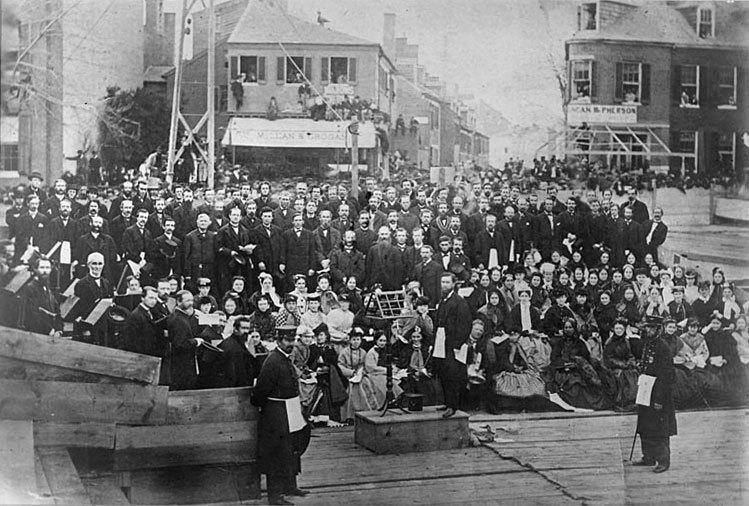 Cornerstone ceremony at the Masonic Temple (1866)