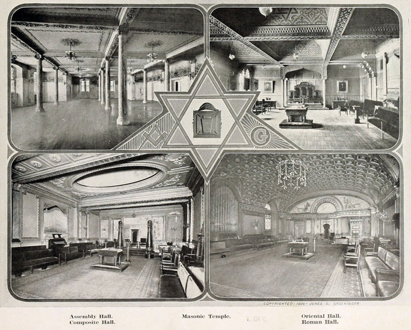 Meeting halls at the Masonic Temple (c. 1906)