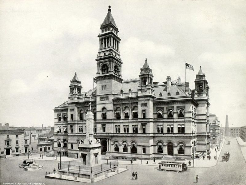 Monument Square and the Baltimore Post Office (1906)
